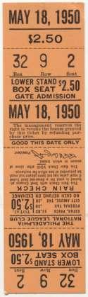1950 Ticket  Phillies 5/18/50 Full Ticket (vs Dodgers) Ex-Mt/NM