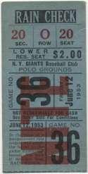 1953 Ticket  NY Giants Home (6/12/53) VG