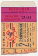 1953 Ticket  World Series Game 2 VG