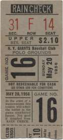 1956 Ticket  NY Giants Home (5/20/56) VG+ mk