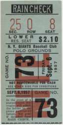 1957 Ticket  NY Giants Home (9/6/57)  NM