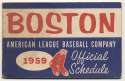 1959   Red Sox Pocket Schedule VG-Ex