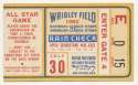 1962 Ticket  All Star Game @ Wrigley VG-Ex