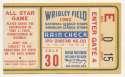 1962 Ticket  All Star Game @ Wrigley VG-Ex