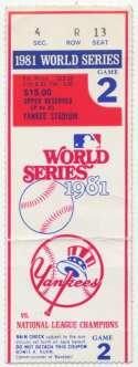1981 Ticket  World Series Game 2 VG-Ex