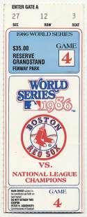 1986 Ticket  World Series Game 4 VG-Ex/Ex