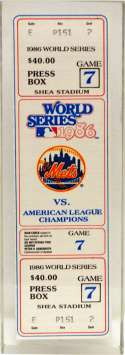 1986 Ticket  World Series Game 7 in Special Display NM