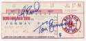 1990 Ticket  Red Sox Triple Play Signed Game Ticket 9.5 JSA LOA (CARD)