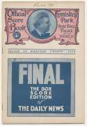 1925 Scorecard  White Sox (unscored vs. Washington) VG-Ex