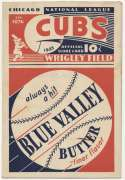1933 Scorecard  Cubs (scored vs. Giants) VG