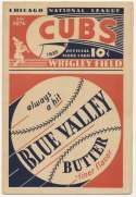 1933 Scorecard  Cubs (unscored vs. Cardinals) Ex