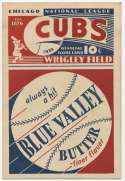 1933 Scorecard  Cubs (unscored vs. Phillies) Ex