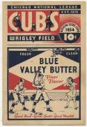 1934 Scorecard  Cubs (unscored vs. Giants) VG