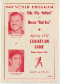 1952 Program  Red Sox Exhibition Program w/Ted Williams NM