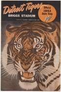 1953 Scorecard  Tigers (scored vs Washington) Ex