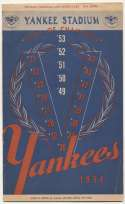 1954 Scorecard  Yankees (scored vs. White Sox) Ex