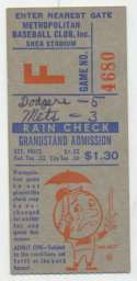 1964 Scorecard  Mets + Ticket (7/30/64) VG-Ex