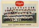 1955   Schaefer Beer Color 1955 Brooklyn Dodgers Postcard Foldout Promo Ex-Mt/NM
