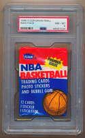 1986 Fleer  Unopened Wax Pack w/Magic Johnson Sticker on Back PSA 8