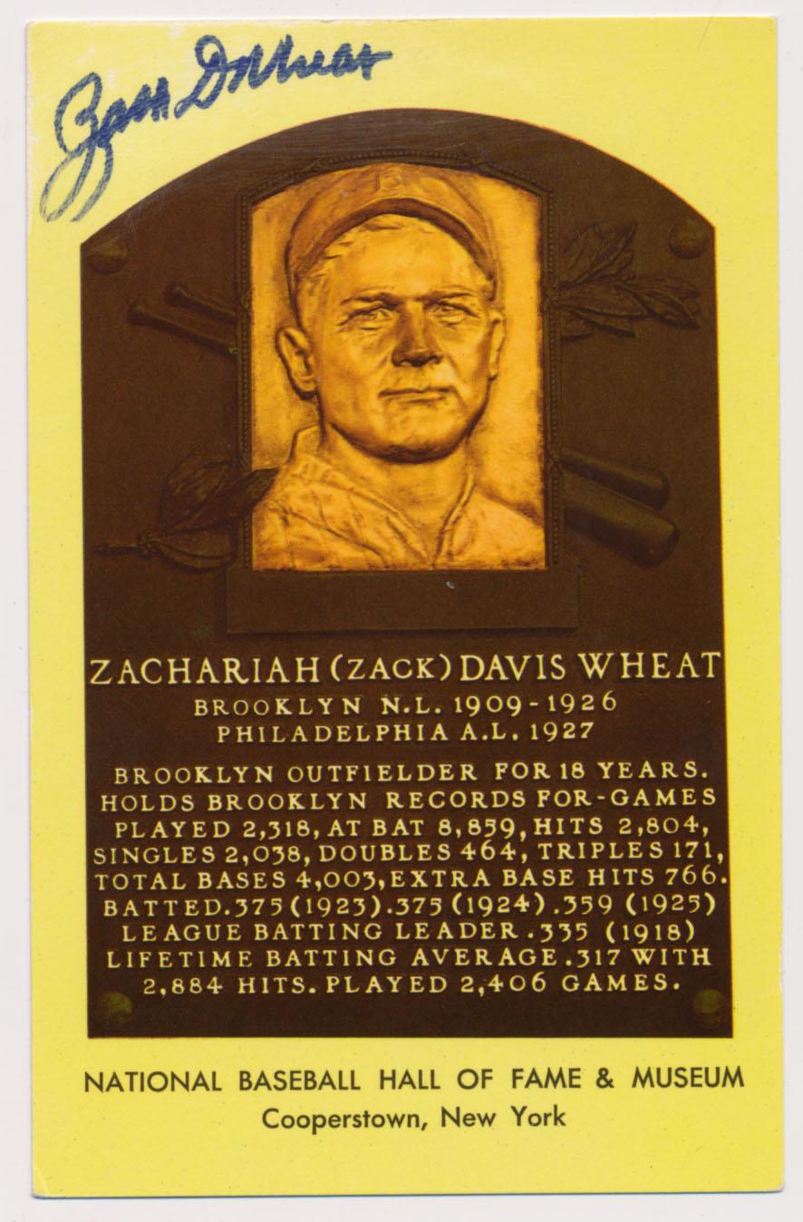 Lot #299  Yellow HOF Plaque  Zack Wheat Cond: 9.5
