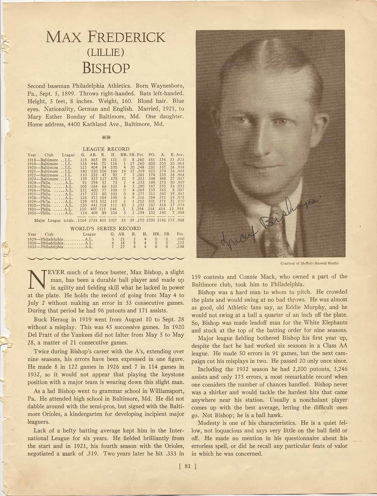 Lot #4  Who's Who Page  Bishop, Max Cond: 9.5