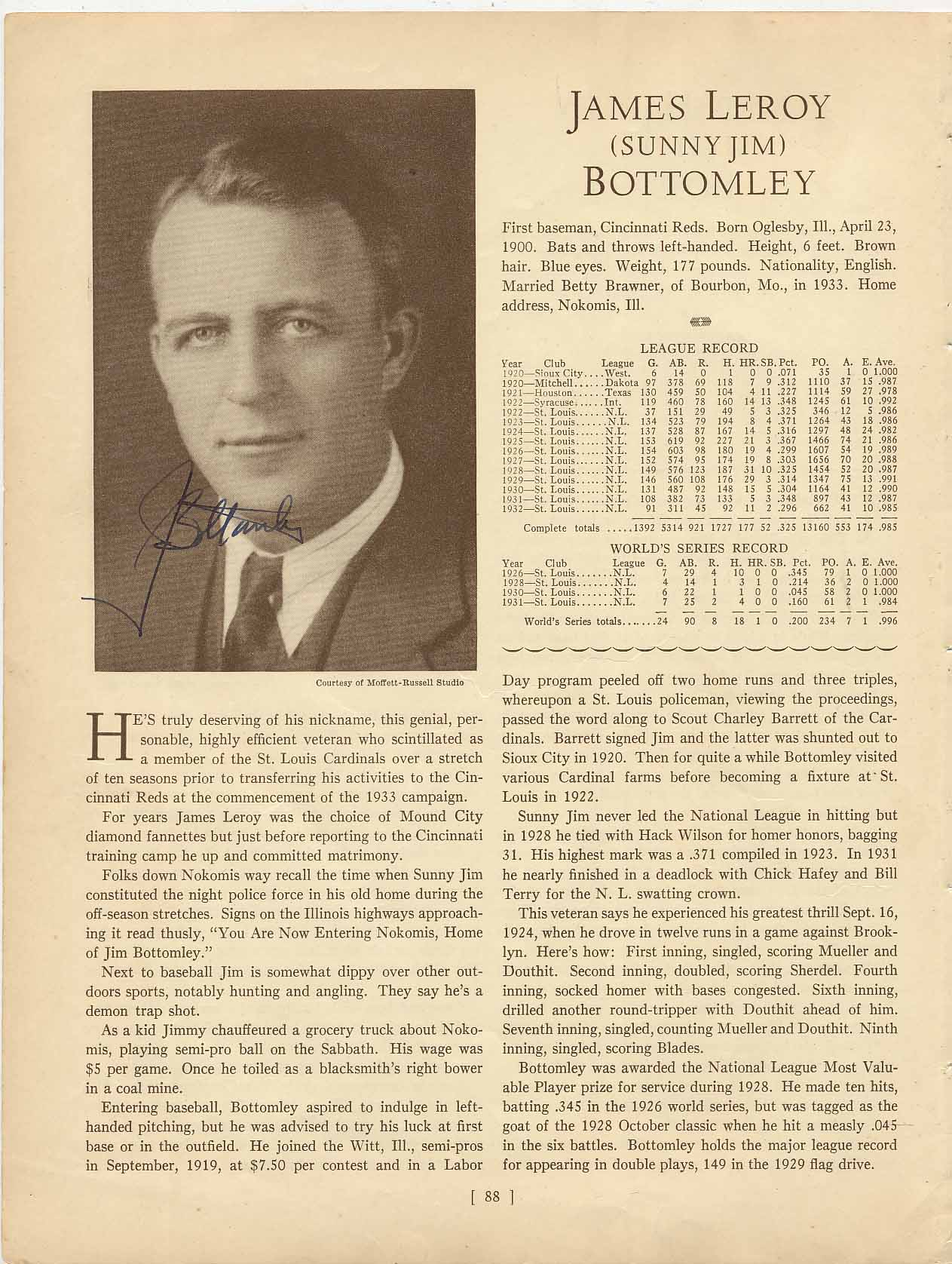 Lot #5  Who's Who Page  Bottomley, Jim Cond: 9.5