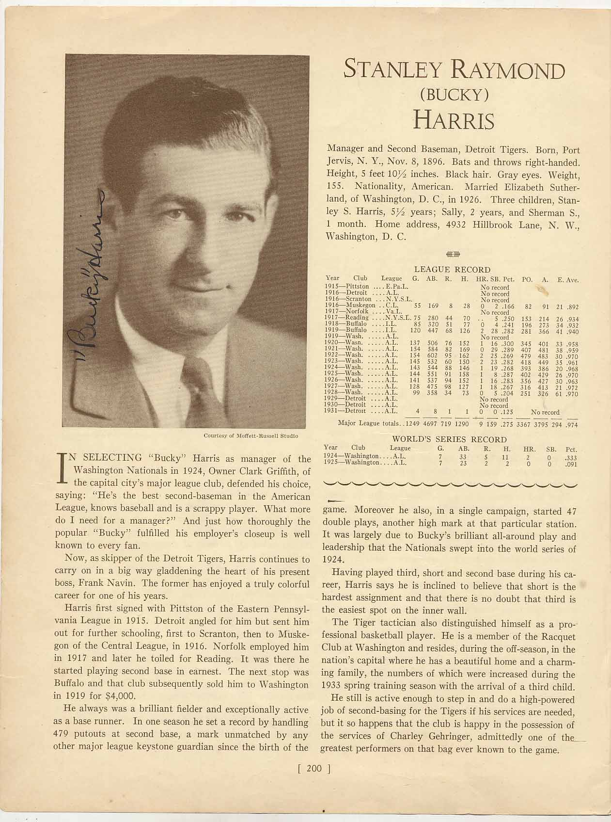 Lot #19  Who's Who Page  Harris, Bucky (signed 1930s) Cond: 9.5