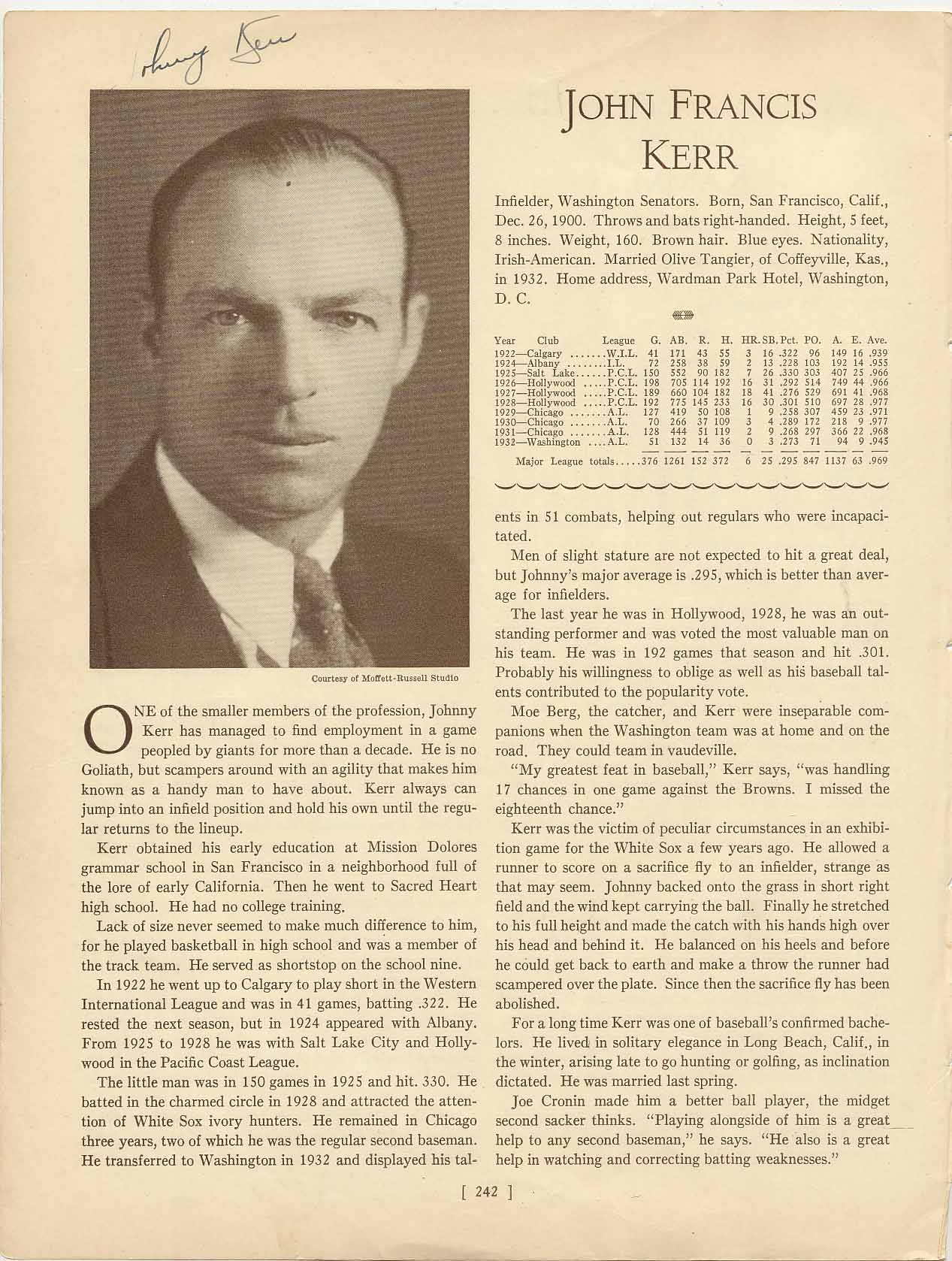 Lot #23  Who's Who Page  Kerr, Dickey Cond: 9.5
