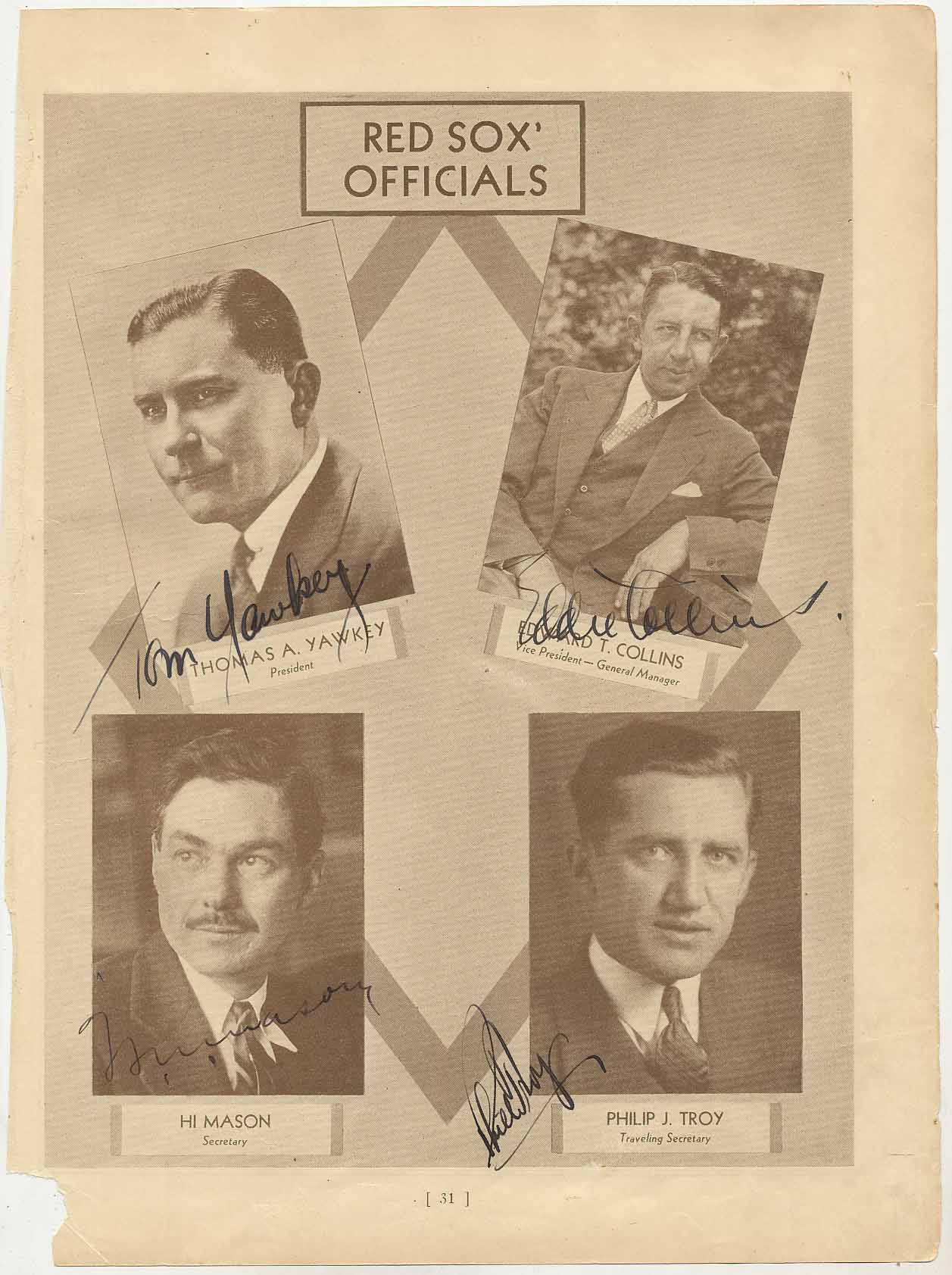 Lot #34  Who's Who Page  Red Sox Execs w/Collins & Yawkey Cond: 9.5