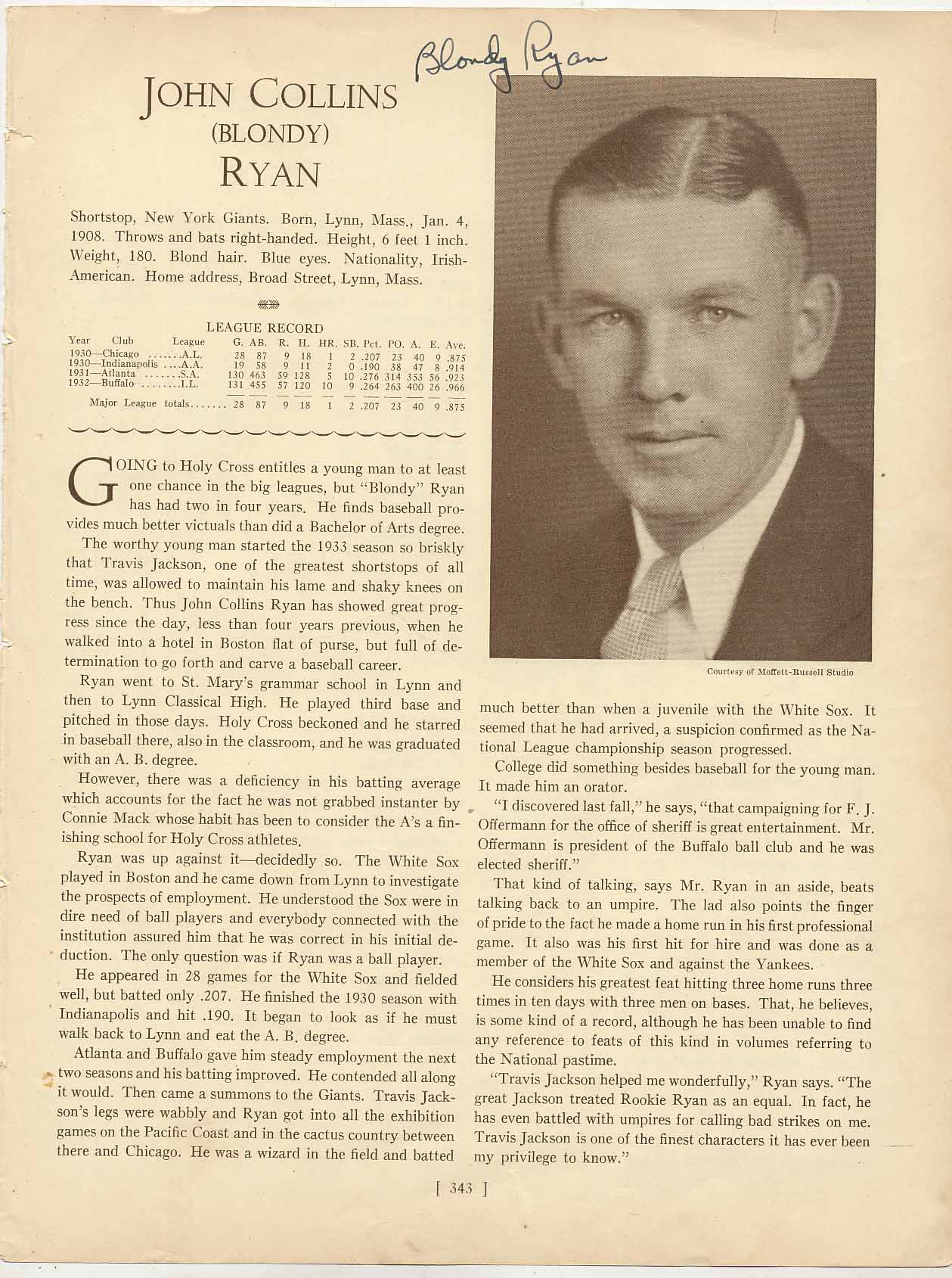 Lot #36  Who's Who Page  Ryan, Blondy Cond: 9.5
