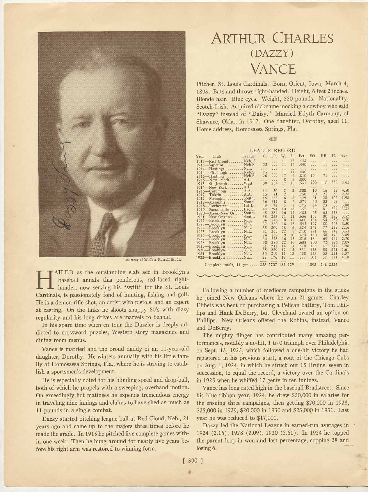 Lot #42  Who's Who Page  Vance, Dazzy Cond: 9