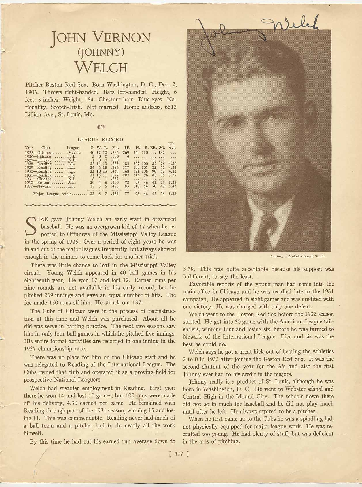 Lot #43  Who's Who Page  Welch, Johnny (rare) Cond: 9.5