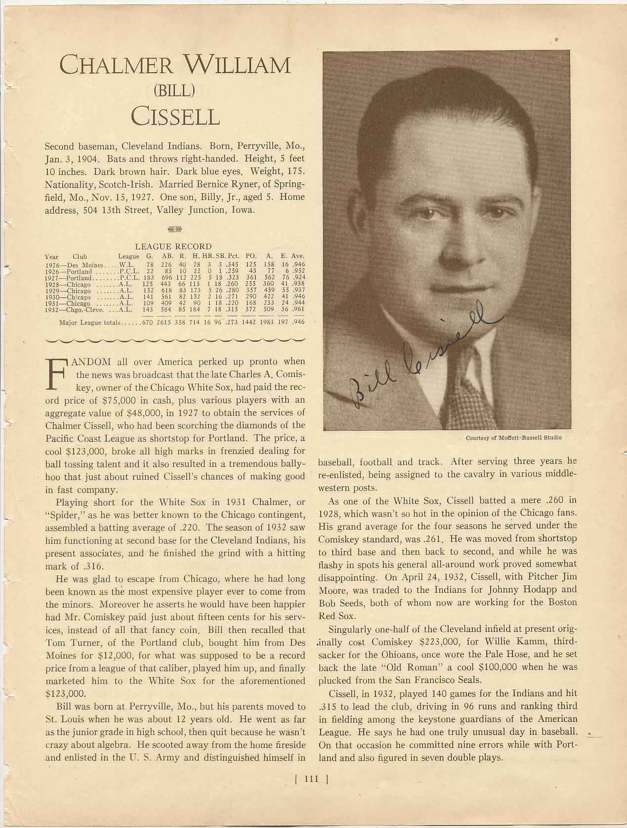 Lot #10  Who's Who Page  Cissell, Bill (rare) Cond: 9.5