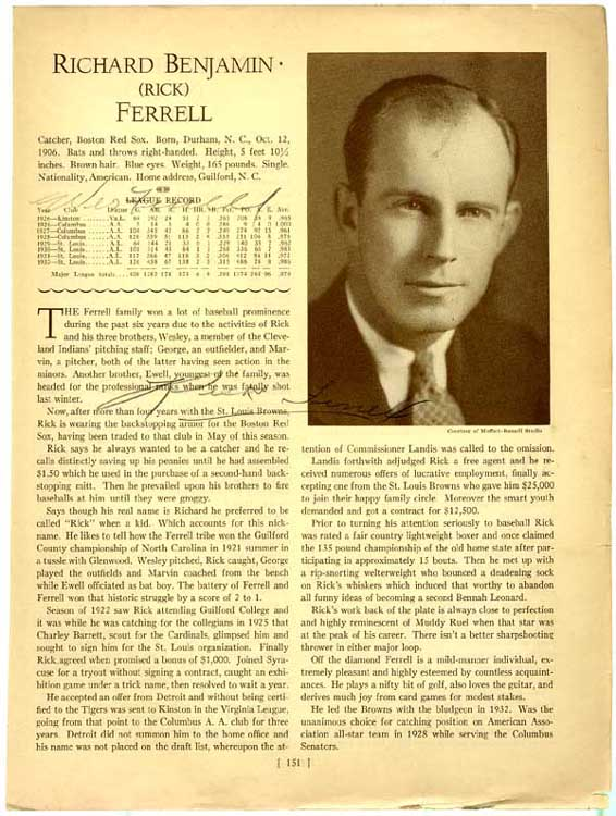 Lot #14  Who's Who Page  Ferrell Bros Cond: 9.5 (pencil)