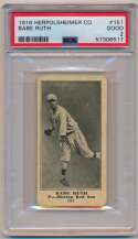 Lot #1 1916 M101-4  Babe Ruth Rookie Card Cond: PSA 2