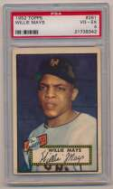 Lot #19 1952 Topps # 261 Willie Mays Cond: PSA 4