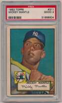 Lot #20 1952 Topps # 311 Mickey Mantle Cond: PSA 2
