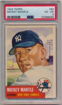 Lot #23 1953 Topps # 82 Mickey Mantle Cond: PSA 4