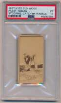 Lot #79 1887 N172 Old Judge  Patsy Tebeau Stooping, catch by R/ankle-Tebeau Cond: PSA 1.5