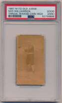 Lot #82 1887 N172 Old Judge  Ned Williamson Throw, Right Hand Chin High Cond: PSA 2 MK