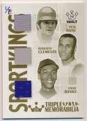 Lot #390 2008 Sport Kings Triple Memorabilia  Banks/Clemente/Rose Relic Card (1/1)
