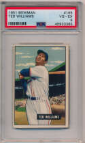 Lot #402 1951 Bowman # 165 Ted Williams Cond: PSA 4