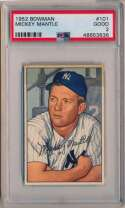 Lot #442 1952 Bowman # 101 Mickey Mantle Cond: PSA 2