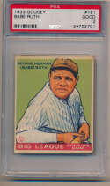 Lot #9 1933 Goudey # 181 Babe Ruth Cond: PSA 2