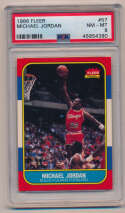 Lot #22 1986 Fleer # 57 Michael Jordan RC Cond: PSA 8