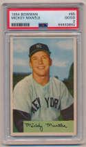 Lot #434 1954 Bowman # 65 Mantle Cond: PSA 2
