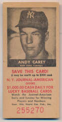 Lot #448 1954 NY Journal American # 43 Andy Carey Cond: VG-Ex/Ex